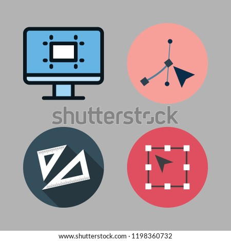 geometric icon set. vector set about vector, set square and technological icons set.