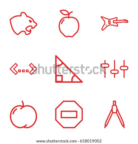 geometric icons set set of 9