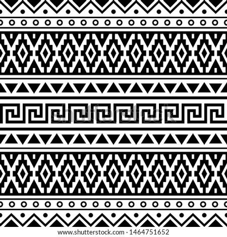 Geometric Ikat Aztec Pattern design black white color. Inca, maya, native, navajo, egypt, indian, peruvian, mexican Traditional tribal design