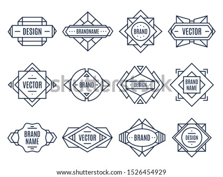 Geometric labels. Geometrical badge, minimal triangles art and abstract design shapes label. Authentic geometric logo, outline ornament sticker. Isolated vector illustration symbols set