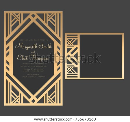 Geometric laser cut wedding invitation. Art deco design.