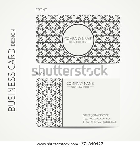 Geometric lattice monochrome business card template with stars for your design. Arabic pattern. Islamic oriental style. Moroccan business card. Trendy calling card. Vector design.