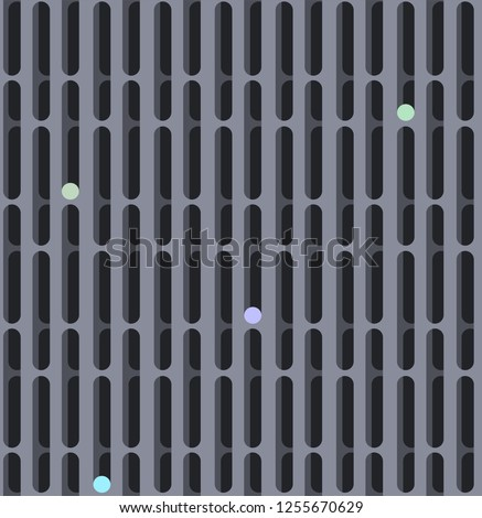 Geometric lattice of a hole with curves in grey and blue grey colors seamless pattern on dark gray background.