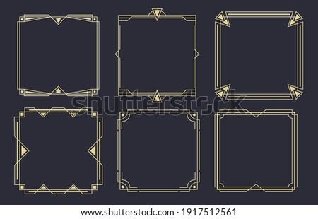 Geometric line frames. Art deco borders, retro frame vector set