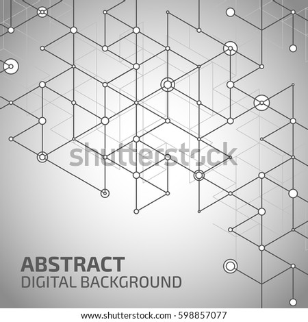 Geometric lines and dots. Line pattern. Modern cube background. Cell abstraction. Connection vector illustration for print and web design. Network black pattern. Organic concept. #598857077