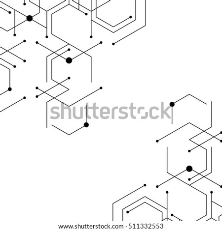 Geometric lines and dots. Modern digital background. Cell abstraction. Connection vector illustration. Network technology pattern.