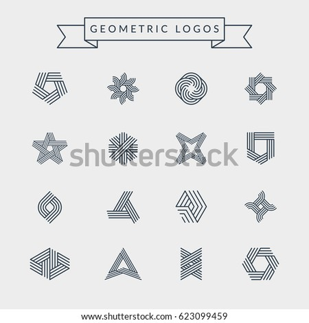 Geometric logos set. Futuristic line shapes. Eps10 vector.