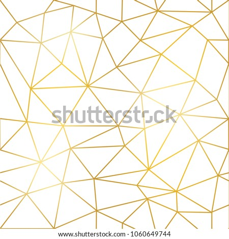 Geometric low poly graphic repeat pattern made out of triangular facets with gold lines