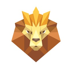 Geometric Low Polygon Style Lion face head with crown logo icon. Origami style Lion. Modern Triangular Lion Symbol