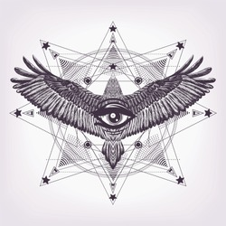 Geometric mandala with hand drawn animal and all seeing eye. Sacred geometry with flying bald eagle and magic look. Masonic symbol. Hand drawn bird with gothic pattern. Eye of providence. Occultism
