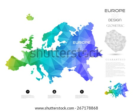 Geometric map elements-continents-3d-geometric-Europe
