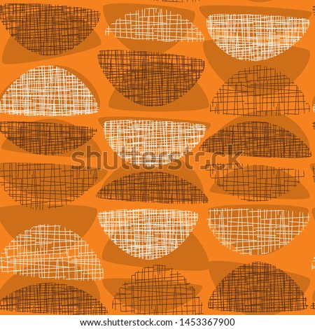 Geometric mid-century style orange textured rapport. Atomic age 50s vibes simple seamless pattern. Abstract rounded geometry repeatable motif for fabric, textile, wrap, surface, web and print design