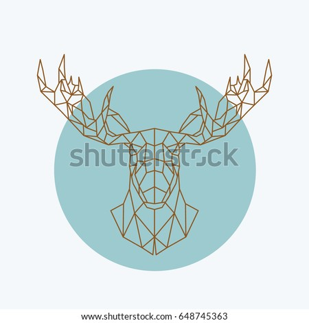 Geometric moose head. Wild animal zoo. Vector illustration.