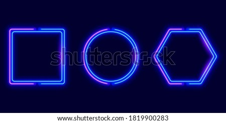 Geometric neon frames, bright banners collection, vector illustration.