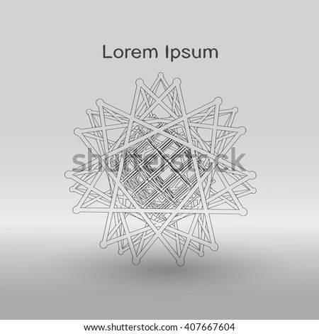 Geometric objects of atomic lattice on a gray gradient background.