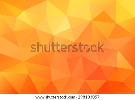 Geometric orange  background with triangular polygons. Abstract design. Vector illustration.