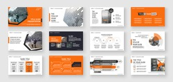 Geometric Orange Presentation Element Templates. Vector infographics. For use in Presentation, Flyer and Leaflet, SEO, Marketing, Webinar Landing Page Template, Website Design, Banner.