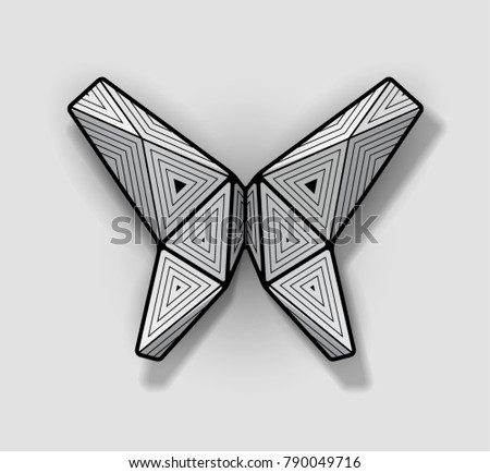Geometric Origami Butterfly With Black Frame And Triangular Ornaments Shadows Are Transparent
