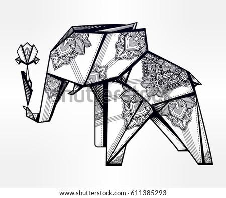 geometric origami elephant