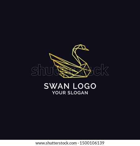geometric origami swan logo