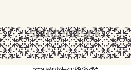 Geometric ornamental arrow shape border. Retro ethnic tribal textile ribbon trim. Decorative folk art home decor. Modernist monochrome abstract grid banner. Trendy seamless vector background edging.