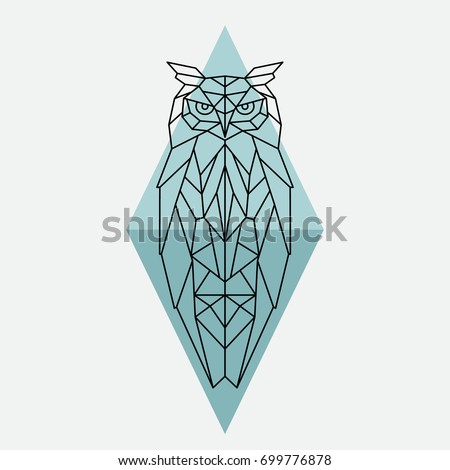 Geometric owl. Wild animal. Vector illustration.