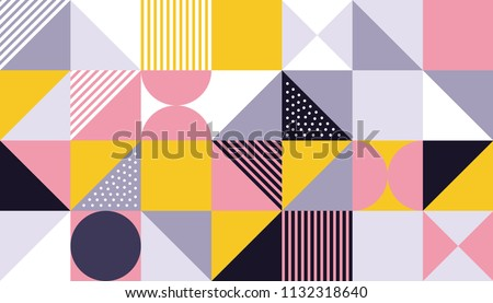Geometric pattern design of vector Scandinavian abstract color or Swiss geometry prints background with rectangles, squares and circles
