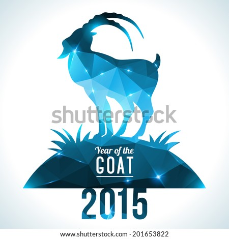 Geometric pattern goat Vector illustration Chinese astrological sign New Year 2015
