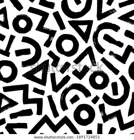 Geometric pattern memphis style background. Seamless abstract vector black and white pattern. Grunge straight brush stroke, triangles, circles, zigzag lines. Handdrawn ink illustration in 80-90s style