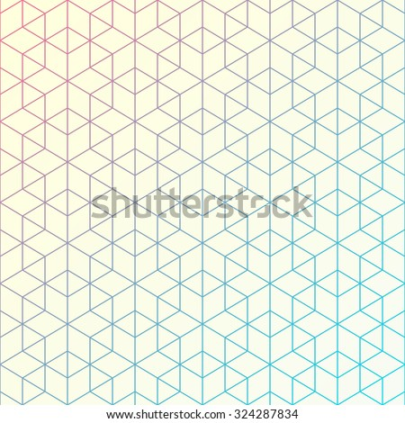 Geometric pattern of intersecting lines. Abstract background for your design. Vector illustration. Hexagons, triangles, and lines. Bright colors with gradient changing.