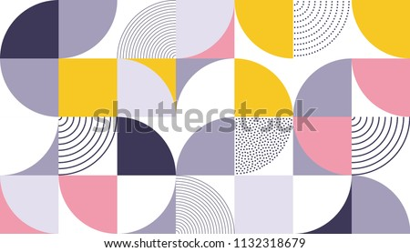 Geometric pattern vector background with Scandinavian abstract color or Swiss geometry prints of rectangles, squares and circles shape design