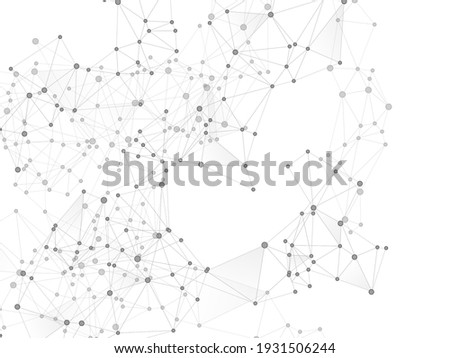 Geometric plexus structure cybernetic concept. Network nodes greyscale plexus background. Circle nodes and line elements. Coordinates structure grid shape vector. Biotechnology backdrop design.