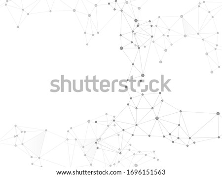 Geometric plexus structure cybernetic concept. Network nodes greyscale plexus background. Wireframe minimal design. Coordinates structure grid shape vector. Nodes and lines polygonal connections.