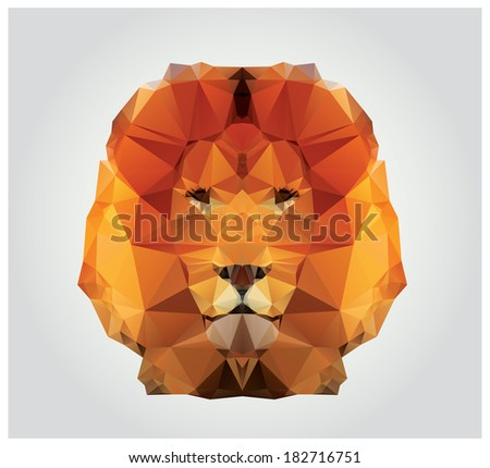 Stock Photo Geometric polygon lion head, triangle pattern, vector illustration