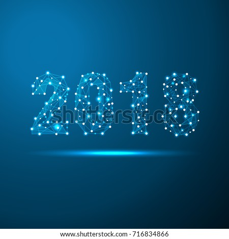 Geometric polygonal 2018 New Year Greeting card. Low poly triangle future technology blue background. Corporate business design vector illustration