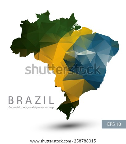 Geometric polygonal style vector map of Brazil. Brazil flag overlay on Brazil map with geometric polygonal.