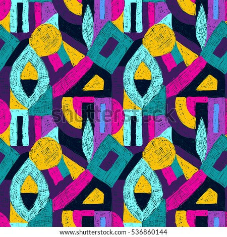 Geometric pop art pattern. Retro style doodles ornament. Seamless creative texture for fabric design, interior elements, wallpapers, backgrounds and printed products.