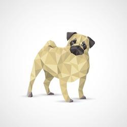 Geometric pug dog - vector illustration