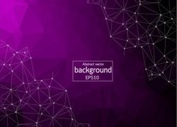 Geometric Purple Polygonal background molecule and communication. Connected lines with dots. Minimalism background. Concept of the science, chemistry, biology, medicine, technology.