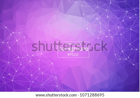Geometric Purple Polygonal background molecule and communication. Connected lines with dots. Minimalism background. Concept of the science, chemistry, biology, medicine, technology. - Shutterstock ID 1071288695