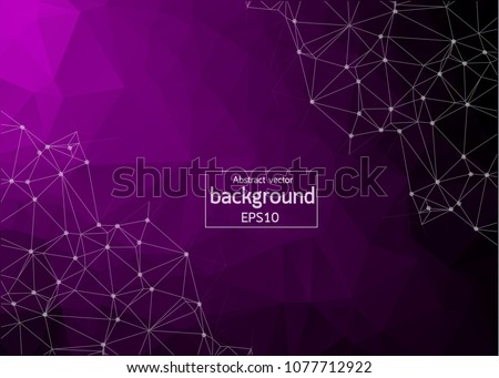 Geometric Purple Polygonal background molecule and communication. Connected lines with dots. Minimalism background. Concept of the science, chemistry, biology, medicine, technology. - Shutterstock ID 1077712922