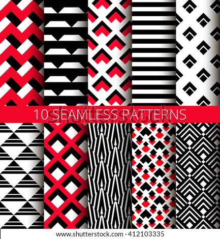 Geometric red black and white seamless patterns set. Unusual triangle striped backgrounds. Isometric design. Psychedelic ornaments. Vector graphic wallpaper or fabric print. Abstract tile images.