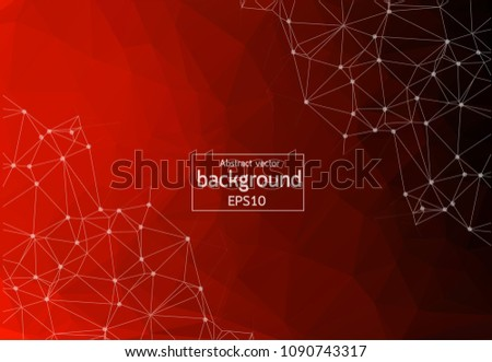 stock-vector-geometric-red-polygonal-background-molecule-and-communication-connected-lines-with-dots