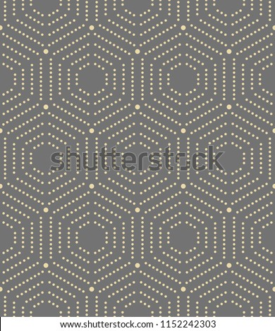Geometric repeating vector ornament with golden hexagonal dotted elements. Geometric modern ornament. Seamless abstract modern pattern