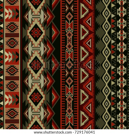 Geometric seamless ornament for ceramics, wallpaper, textile, web, cards. Ethnic pattern. Border ornament. Native american design, Navajo. Mexican motif, Aztec ornament Stock photo ©