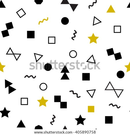 Geometric seamless pattern, golden black color elements, white background. Seamless hipster pattern with geometric figures. Memphis style for fashion, cloth, textile. Simple pattern.