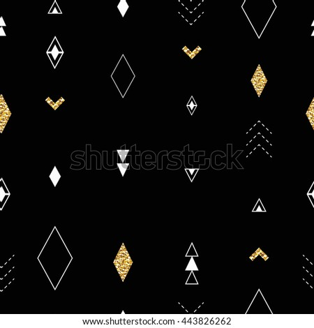 Geometric seamless pattern memphis style with golden glitter texture.