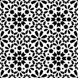 Geometric seamless pattern, Moroccan tiles design, seamless black tile background