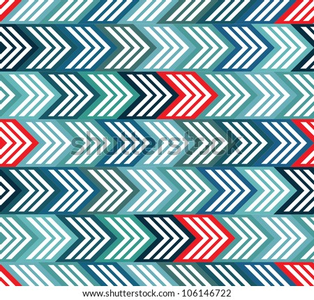 Geometric seamless pattern with color arrows, vector background.