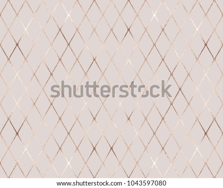 Geometric seamless pattern with gold rhombus tiles and golden glitter texture.